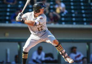 A baseball player at bat.