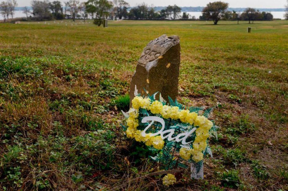 a floral arrangement on a grave